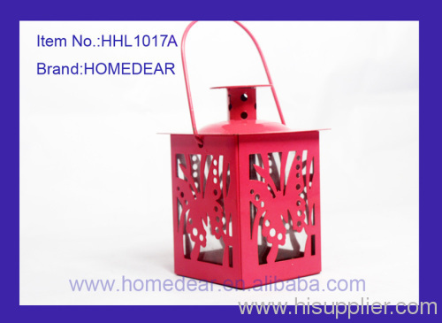 6.7X6.7X12CM metal hurricane lantern with butterfly