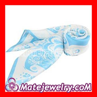 Blue silk scarf motorcycle Printed Floral Small Square Silk Scarves Wholesale