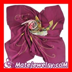 Floral Large Purple Square Silk Scarves for Women 105×105cm Hand Painted Silk Scarf