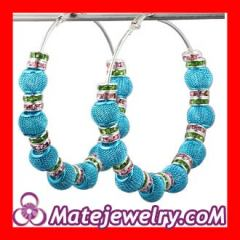 70mm Blue Basketball Wives Mesh Ball Hoop Earrings Wholesale
