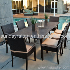 2013 hot sale 8 person outdoor rattan dining table set