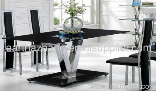 new style bent glass dining table and chairs xydt-247 manufacturer Black Glass Dining Table