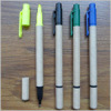 Recycle ball pen with highlighter