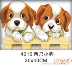 Two puppies-30*40cm abstract lovely animal oil painting for kids' gift