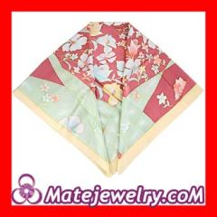 Elaborately Hand Painted Silk Scarf 108×108cm Large Square Silk Scarves for Women