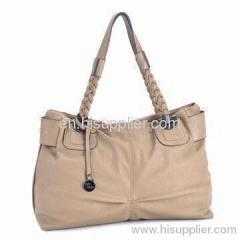 Ladies Leather Handbag with PU Material, Double Handle and Black Hardware H0727-2