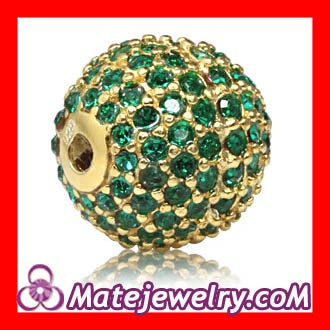12mm Gold plated Sterling Silver Disco Ball Bead Pave Green Austrian Crystal handmade Style