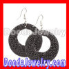 Celeb Inspired Black Gold Bamboo Earrings with rhinestones Wholesale