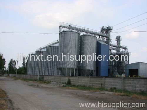 Grain steel silo with dryer