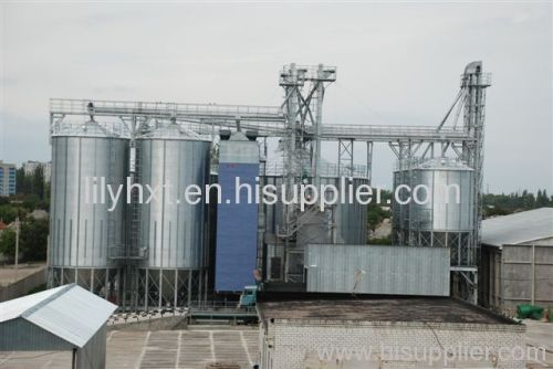 Grain steel silo with falt bottom and hopper bottom