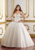 GEORGE BRIDE Ball Gown Strapless Beaded Bodice Satin Wedding Dress