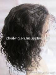 large size cap remy indian human hair full lace wig 1b#