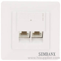outlet faceplate with dual stp cat5e jack