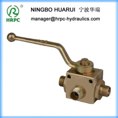 hydraulic yellow zinc plated high pressure 3-way ball valve with mounting holes
