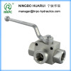 3-way female male threaded ball valve with mounting holes