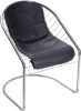Chromed Steel and PVC Black Cushion wire bertoia side Chair