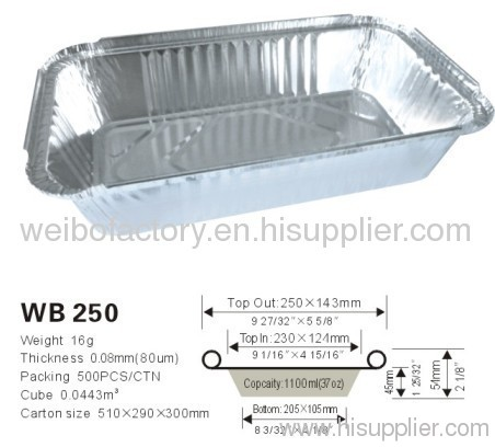 Disposable Aluminum foil food container WB 250