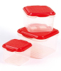3pcs Plastic Food Container Set With Red Cover