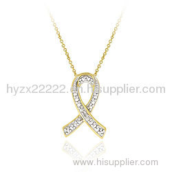 18k Gold over Sterling Silver Diamond Accent Ribbon Necklace,gold jewelry,fine jewelry