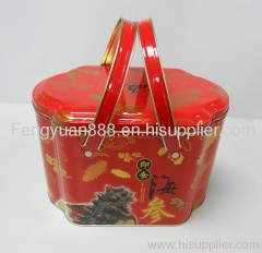 Cookie tin box with handle