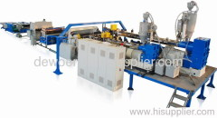 Three-layer plastic board extrusion line