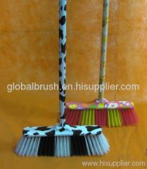 HQ0578P household water transfer printing broom head,colorful broom,hand besom