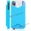 Hot Selling Credit Card Holder Hard Back Case for iPhone 4S with Anti-Dust Button(Blue)