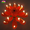 Double-deck rotating-chrysanthemum flower birthday candle