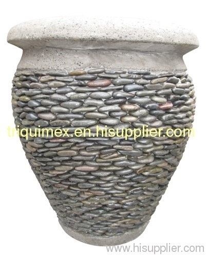 Stacked pebble stone flower pot