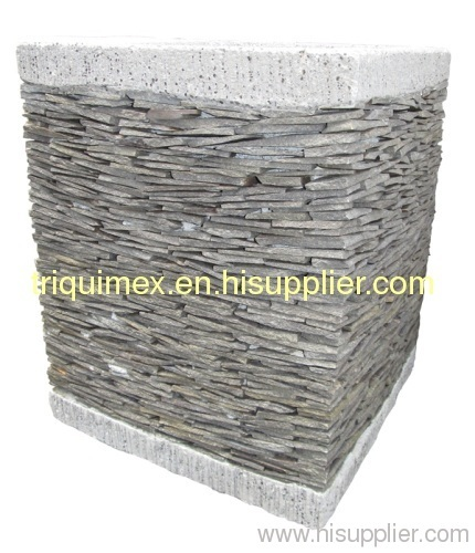 Natural stacked stone flower pot