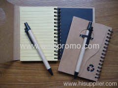 Promotion recycle notebook with ball pen
