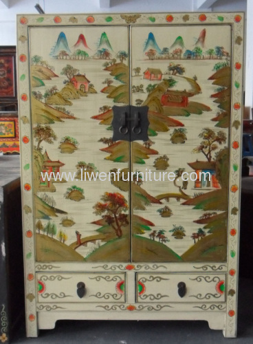 Chinese reproduction painted cabinets
