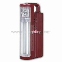 Rechargeable Emergency Light with 1-piece Halogen Bulb and 2 x 6W Tubes