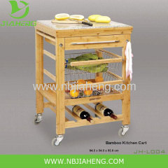 Eco-friendly Bamboo Kitchen Trolley With Wine Rack And One Drawer