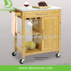 Osaka Bamboo Wood Rolling Utility Kitchen Trolley With Marble Top
