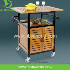 Wooden and Metal Frame Kitchen Trolley With Big Storage Cabinet