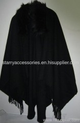 Ladies Acrylic Woven Shawl with Fake Fur Collar
