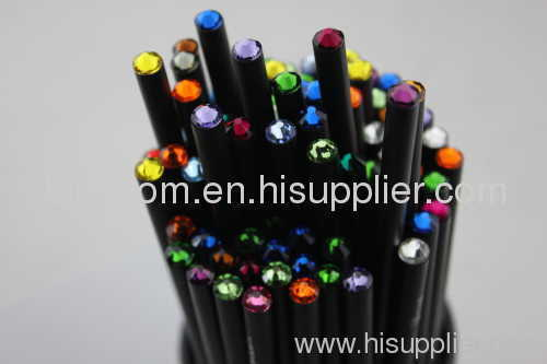 Matte Black Wooden Pencils with acryl or swarovski diamond on top