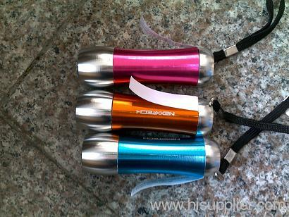 Durable and portable 9 pieces led flashlight, made of aluminum alloy, powered by 3*AAA batteries