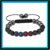 Shamballa men's bracelet 8mm bracelet for child with jet crystal stone