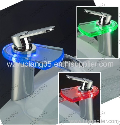 glass waterfall LED tap