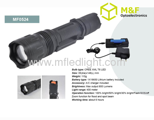 High power cree xml t6 led zoom flashlight with focus adjustable led