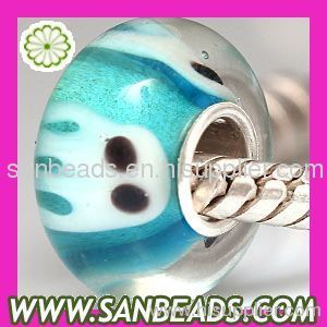2012 New design silver core round Blue Squid glass beads for bracelets