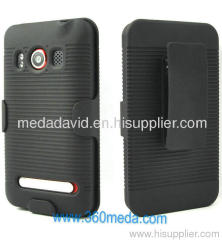 SPRINT HTC EVO 4G RIBBED BLACK PROTECTIVE CASE + BELT CLIP HOLSTER W STAND ~NEW