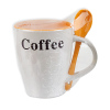 Ceramic Coffee Decal Printing Soup Mug With Spoon