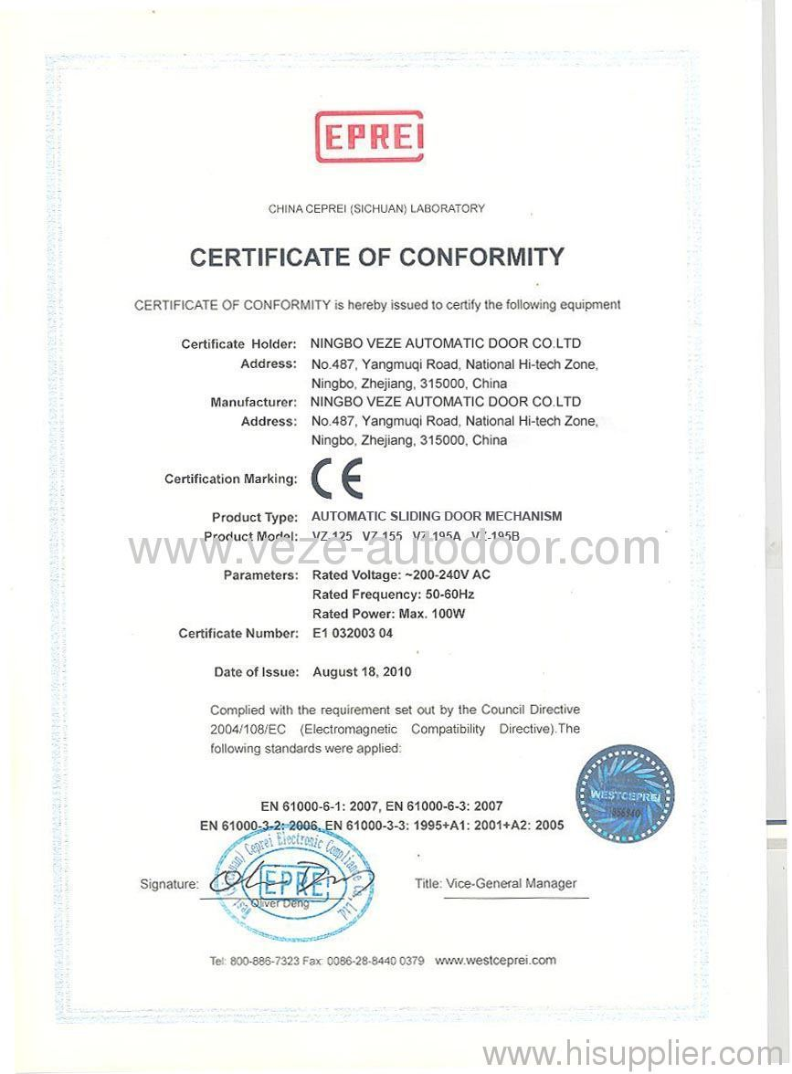 automatic sliding door mechanism  CE certificates