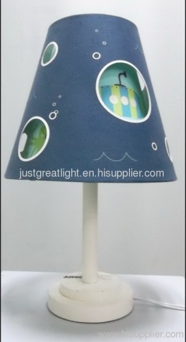Lovely blue children table lamp with wood base for living room TL019