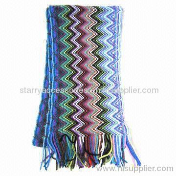 Multi-color Chenille Zipper Stripe Scarf