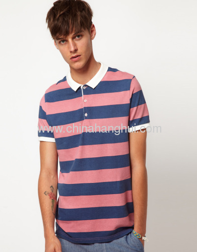 Mens Fashion Polo T-Shirts With All Over Printed Stripe