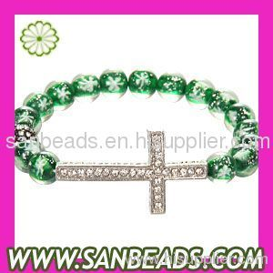 Natural snowflake beaded shamballa style bracelet With Cross